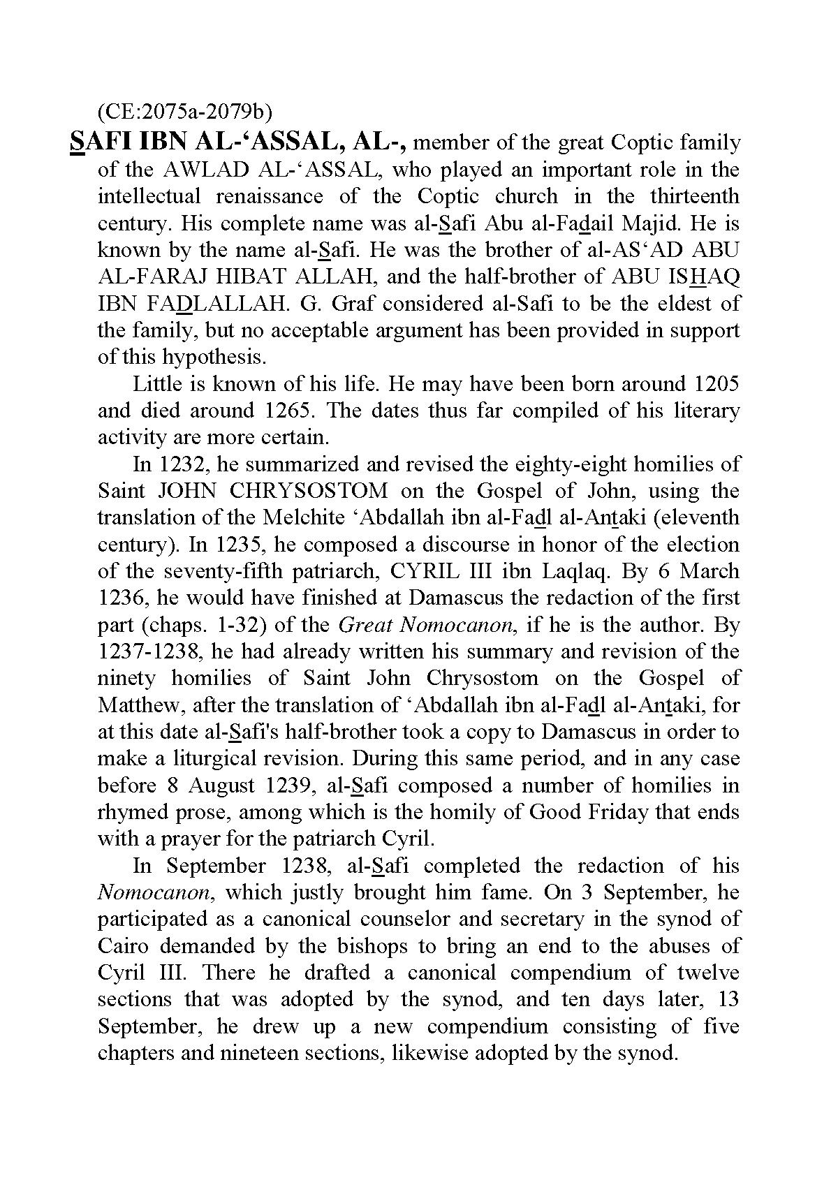Safi Ibn al-'Assal, al- - Claremont Coptic Encyclopedia ...